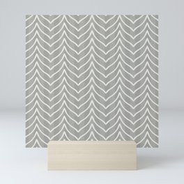 Boho Chevron and Stripes in Olive Gray Mini Art Print