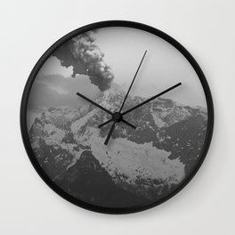 Volcano black and white Wall Clock