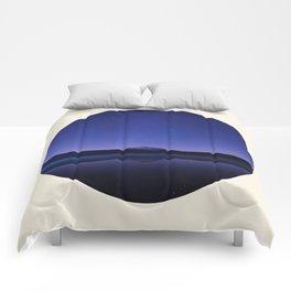 Volcano Against Purple Star Sky Round Photo Comforters