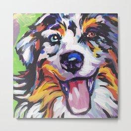 Fun AUSTRALIAN SHEPHERD Dog bright colorful Pop Art Metal Print