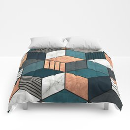 Copper, Marble and Concrete Cubes 2 with Blue Comforters