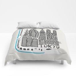 Tokyo Cityscape Comforters