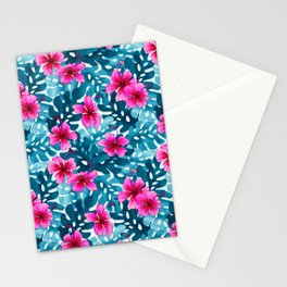 Tropical Hibiscus Pattern Pink Stationery Cards