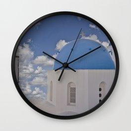 Santorini blue dome churches, blue sky Wall Clock