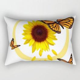 ORANGE MONARCH BUTTERFLIES & SUNFLOWER  PATTERN Rectangular Pillow