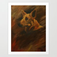 Native American Indian Dog Art Print