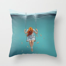 Fantastic Surreal Pretty Long Hair Lonely Female On Submarine Seesaw UHD Throw Pillow