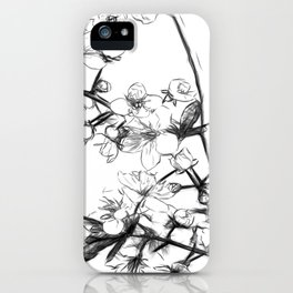 Cherry Blossoms Minimal Drawing iPhone Case