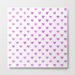 Tiny Pink Heart Polka Dots Metal Print