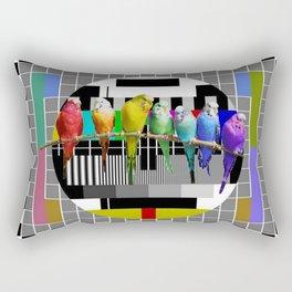 Testing the Rainbow Budgies Rectangular Pillow