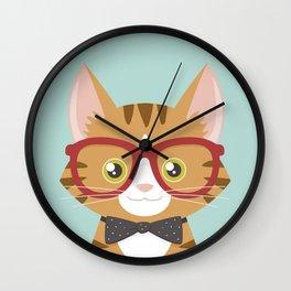 Orange Tabby Hipster Cat Wall Clock
