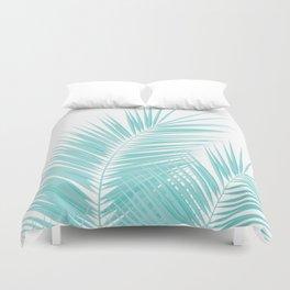 Soft Turquoise Palm Leaves Dream - Cali Summer Vibes #1 #tropical #decor #art #society6 Duvet Cover