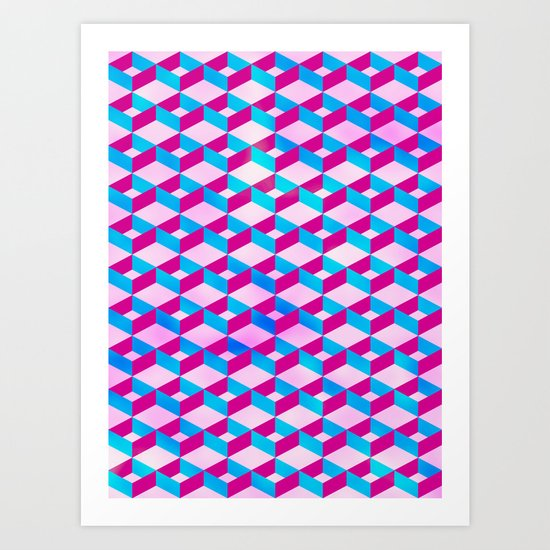Blue Pink Pattern # 2 Art Print