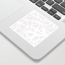 Modern white abstract geometric brushstrokes light grey Sticker
