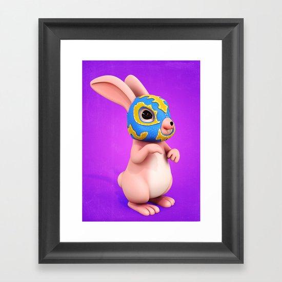 Lucha Rabbit-Pink Sister Framed Art Print