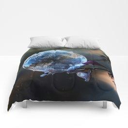 Blue frozen bubble Comforters