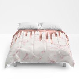 Rose Gold Marble Metallic Drips Comforters