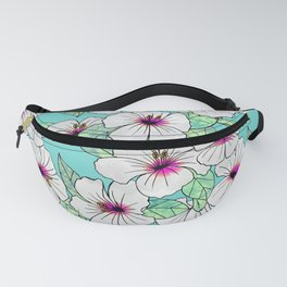 Pink & White Tropical Hibiscus Floral Pattern Fanny Pack