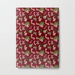 Merry Dickmas, Red Pattern Metal Print