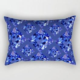 FACETED BLUE ON BLUE SAPPHIRE GEMSTONES Rectangular Pillow
