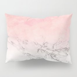 Modern blush pink watercolor ombre white marble Pillow Sham