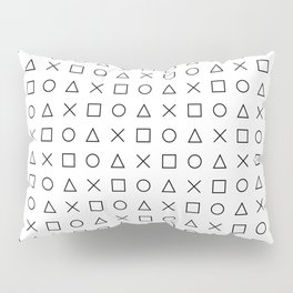 gaming design white - gamer pattern black and white Pillow Sham