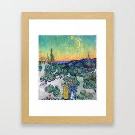 Couple Walking among Olive Trees, Vincent Van Gogh Framed Art Print