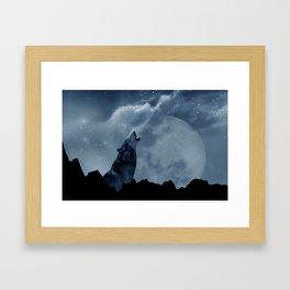 Wolf howling at full moon Framed Art Print