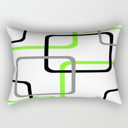 Geometric Rounded Rectangles Collage Lime Green Rectangular Pillow