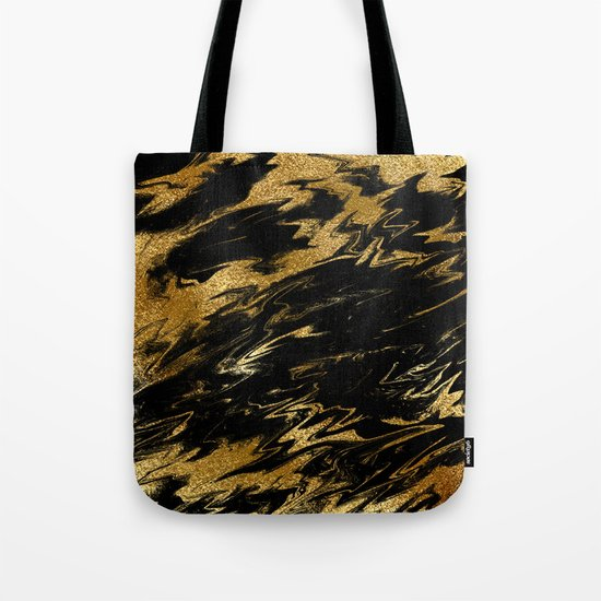 Luxury and sparkle gold glitter and black marble on #Society6 Tote Bag