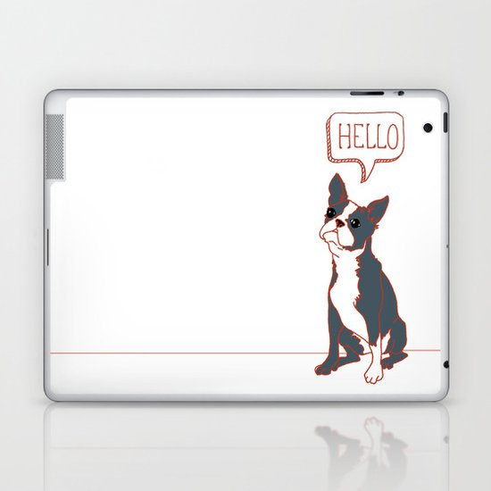 Boston Terrier, Hello, Red, Black, Grey Laptop & iPad Skin