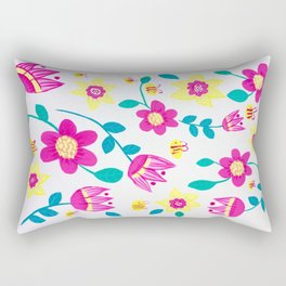 Pink and Yellow Flower Pattern Rectangular Pillow