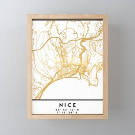 NICE FRANCE CITY STREET MAP ART Framed Mini Art Print