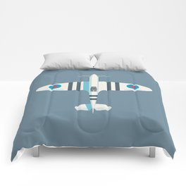 Spitfire WWII Fighter Aircraft - Stripe Slate Comforters