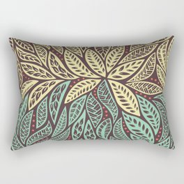 Polynesian Tribal Tattoo Green and Yellow Floral Retro Design Rectangular Pillow