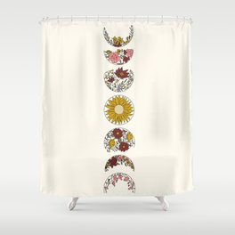 Floral Phases of the Moon Shower Curtain