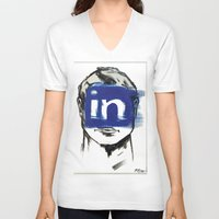 instagram V-neck T-shirts featuring O'Prime instagram by O'Prime