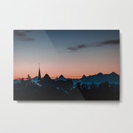 Bern town with Swiss alps Silhouette Metal Print