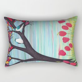 tree swallows in the stained glass tree with tulips and frogs Rectangular Pillow