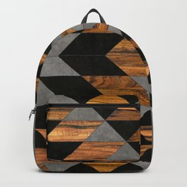 Urban Tribal Pattern No.10 - Aztec - Concrete and Wood Backpack