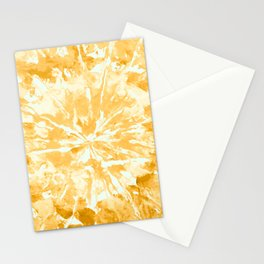Yellow Mustard Tie-Dye Colored Pattern Design // Hand Painted Mandala Multi Media Abstract Stationery Cards