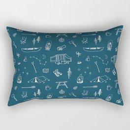 Simple Camping blue Rectangular Pillow