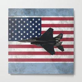 F15 Fighter Jet American Flag Metal Print