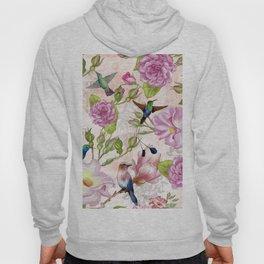 Vintage Roses and Hummingbird Pattern Hoody