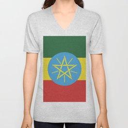 Ethiopia flag emblem Unisex V-Neck