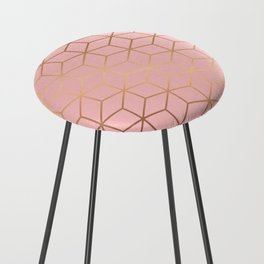 Pink and Gold Geometry 011 Counter Stool