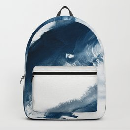 Building the Universe:  A minimal abstract acrylic painting in blue and white by Alyssa Hamilton Backpack