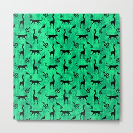 Animal kingdom. Black silhouettes of wild animals. African giraffes, leopards, cheetahs. snakes, exotic tropical birds. Tribal primitive ethnic nature green grunge distressed pattern. Metal Print