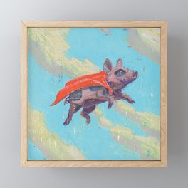 flying pig - by phil art guy Framed Mini Art Print