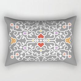 Teddy Bear Heart Intricate Decorative Swirl Rectangular Pillow